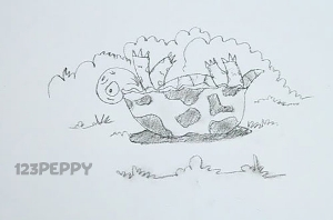 нарисовать пошагово упавшую черепаху карандашом, рисунок  упавшей черепахи, контурный рисунок,  черно - белый