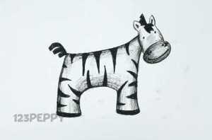 нарисовать пошагово зебру карандашом, рисунок  зебры, контурный рисунок,  черно - белый