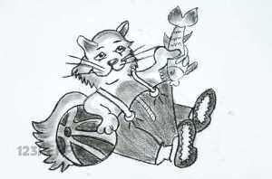 нарисовать пошагово мультяшного кота в одежде карандашом, рисунок  мультяшного кота в одежде, контурный рисунок,  черно - белый