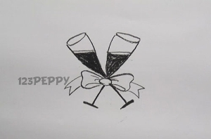 нарисовать пошагово бокалы шампанского карандашом, рисунок  бокалов шампанского, контурный рисунок,  черно- белый