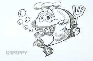 нарисовать пошагово рыбку повара карандашом, рисунок  рыбки повара, контурный рисунок,  черно-белый