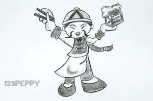 нарисовать пошагово китайца карандашом, рисунок  китайца, контурный рисунок,  черно - белый