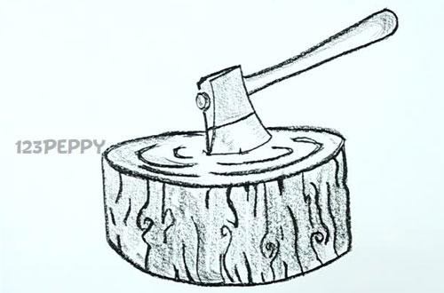 нарисовать пошагово топор карандашом, рисунок  топора, воткнутого в дерево, контурный рисунок,  черно- белый
