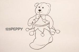 нарисовать пошагово рождественский носок с медвежонком карандашом, рисунок  рождественского чулка с медвежонком, контурный рисунок,  черно- белый