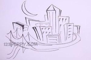 нарисовать пошагово город карандашом, рисунок  города, контурный рисунок,  черно-белый