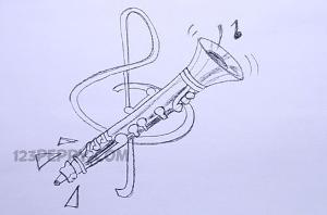 нарисовать пошагово кларнет карандашом, рисунок  кларнета, контурный рисунок,  черно-белый