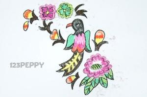 нарисовать пошагово красочную птицу карандашом, рисунок  красочной птицы, контурный рисунок,