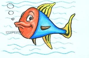 нарисовать пошагово красочную рыбку карандашом, рисунок  красочной рыбки, контурный рисунок,  цветной