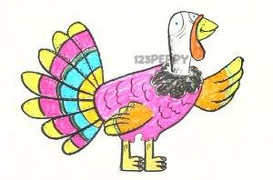 нарисовать пошагово яркого индюка карандашом, рисунок  индюка, контурный рисунок,  цветной