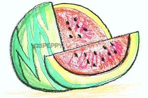 нарисовать пошагово спелый арбуз карандашом, рисунок  спелого арбуза, контурный рисунок,  цветной