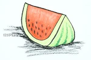 нарисовать пошагово ломтик арбуза карандашом, рисунок  ломтика арбуза, контурный рисунок,  цветной