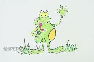 нарисовать пошагово веселую лягушку карандашом, рисунок  веселой лягушки, контурный рисунок,  цветной
