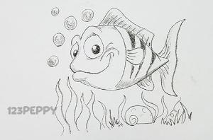 нарисовать пошагово рыбку Нэмо карандашом, рисунок  рыбки Нэмо, контурный рисунок,  черно-белый