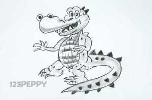 нарисовать пошагово веселого крокодила карандашом, рисунок  веселого крокодила, контурный рисунок,  черно - белый