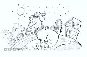 нарисовать пошагово счастливую собаку карандашом, рисунок  счастливой собаки, контурный рисунок,  черно- белый