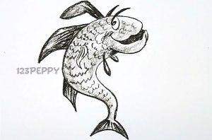 нарисовать пошагово сумасшедшую рыбку карандашом, рисунок  сумасшедшей рыбки, контурный рисунок,  черно-белый