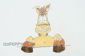 нарисовать пошагово веселую лошадь карандашом, рисунок  веселой лошади, контурный рисунок,  цветной