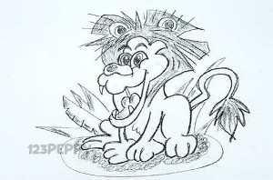 нарисовать пошагово злого тигра карандашом, рисунок  злого тигра, контурный рисунок,  черно - белый