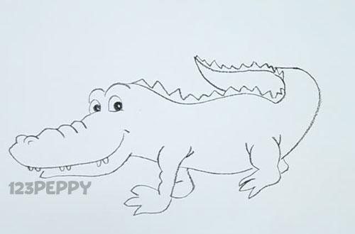 нарисовать пошагово простого крокодила карандашом, рисунок  крокодила, контурный рисунок,  черно - белый