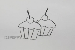 нарисовать пошагово пироженое карандашом, рисунок  пироженого, контурный рисунок,  черно- белый