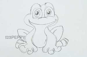 нарисовать пошагово милую лягушку карандашом, рисунок  милой лягушки, контурный рисунок,  черно - белый