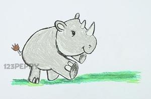 нарисовать пошагово маленького носорога карандашом, рисунок  маленького носорога, контурный рисунок,  цветной