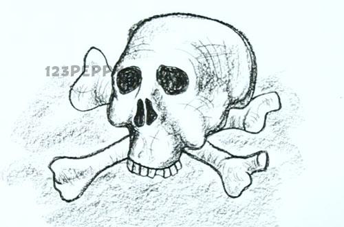 нарисовать пошагово череп с костями карандашом, рисунок  черепа с костями, контурный рисунок,  черно-белый