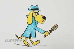 нарисовать пошагово собаку — детектива карандашом, рисунок  собаки - детектива, контурный рисунок,  цветной