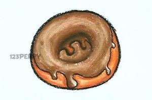 нарисовать пошагово пончик с шоколадом карандашом, рисунок  пончика в шоколаде, контурный рисунок,  цветной