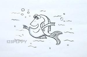 нарисовать пошагово рыбку Дори карандашом, рисунок  рыбки Дори, контурный рисунок,  черно-белый
