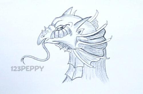 нарисовать пошагово голову дракона карандашом, рисунок  головы дракона, контурный рисунок,  черно - белый