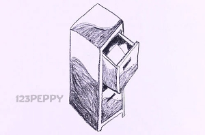 нарисовать пошагово тумбочку карандашом, рисунок  тумбочки, контурный рисунок,  черно-белый