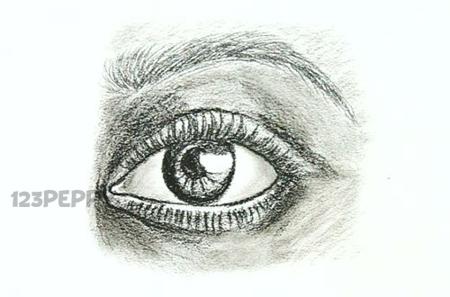 нарисовать пошагово глаз с бровью карандашом, рисунок  глаза с бровью, контурный рисунок,  черно - белый
