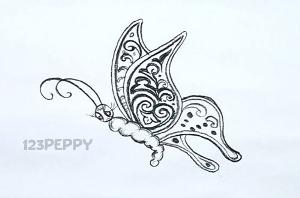 нарисовать пошагово красивую бабочку карандашом, рисунок  красивой бабочки, контурный рисунок,  черно- белый