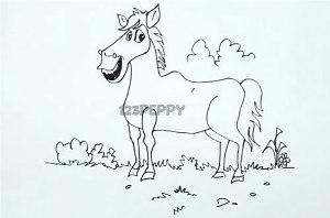 нарисовать пошагово лошадь карандашом, рисунок  лошади, контурный рисунок,  черно-белый