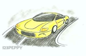 нарисовать пошагово машину карандашом, рисунок  машины, контурный рисунок,  цветной