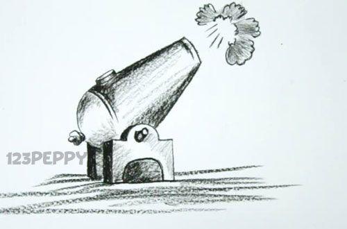 нарисовать пошагово пушку карандашом, рисунок  пушки, контурный рисунок,  черно- белый
