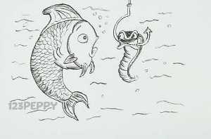 нарисовать пошагово удивлённую рыбку карандашом, рисунок  удивлённой рыбы, контурный рисунок,  черно-белый