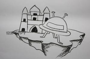 нарисовать пошагово корабль инопланетян карандашом, рисунок  корабля инопланетян, контурный рисунок,  черно - белый