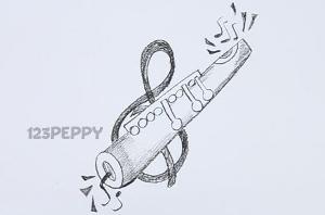 нарисовать пошагово флейту карандашом, рисунок  флейты, контурный рисунок,  черно-белый