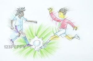 нарисовать пошагово игру в футбол карандашом, рисунок  игры в футбол, контурный рисунок,  цветной