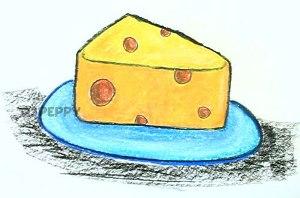 нарисовать пошагово сыр на тарелке карандашом, рисунок  сыра на тарелке, контурный рисунок,  цветной