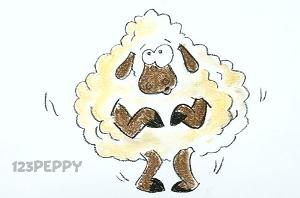 нарисовать пошагово дрожащую овцу карандашом, рисунок  дрожащей овцы, контурный рисунок,  цветной