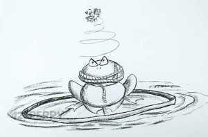 нарисовать пошагово злую лягушку карандашом, рисунок  злой лягушки, контурный рисунок,  черно -белый