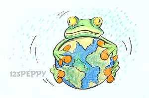 нарисовать пошагово лягушку с земным шаром или глобусом карандашом, рисунок  лягушки с земным шаром или глобусом, контурный рисунок,  цветной