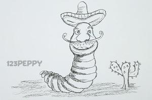 нарисовать пошагово забавного червяка из мультфильма карандашом, рисунок  червяка из мульфильма, контурный рисунок,  черно- белый