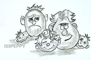 нарисовать пошагово смешные лица карандашом, рисунок  смешных лиц, контурный рисунок,  черно - белый