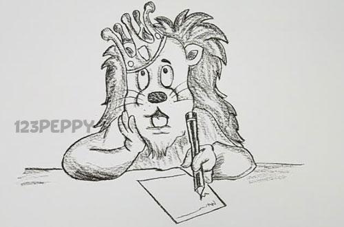 нарисовать пошагово короля льва карандашом, рисунок  король лев, контурный рисунок,  черно- белый