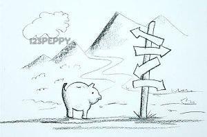 нарисовать пошагово забавную свинью карандашом, рисунок  забавной свиньи, контурный рисунок,  черно- белый