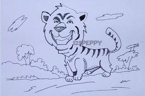нарисовать пошагово веселого тигра карандашом, рисунок  веселого тигра, контурный рисунок,  черно - белый